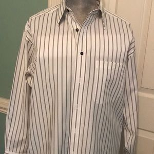 White with black and gray stripes button up